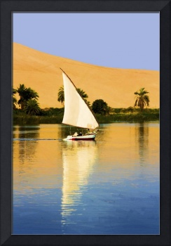 Felluca boat sailing down the Nile river