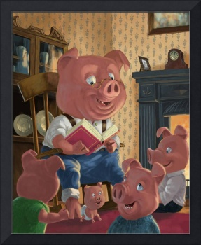 story telling pig with family