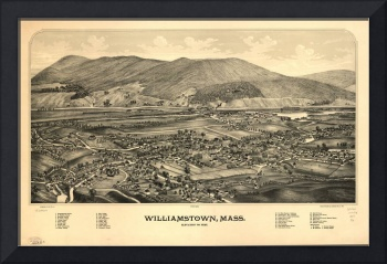 1889 Williamstown, MA Panoramic Map Birds Eye View