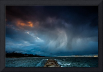 Angry Sky Over Rock Harbor At Sunset