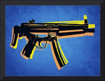 MP5 Sub Machine Gun on Blue