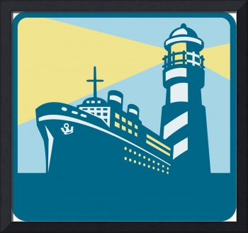 Passenger Ship Cargo Boat Lighthouse Retro