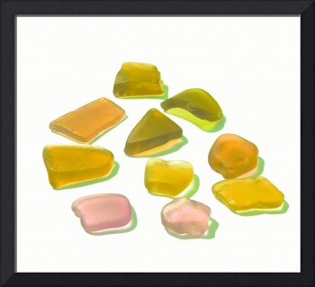 Yellow Beach Glass Pieces