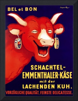 Laughing Cow Cheese Vintage Poster