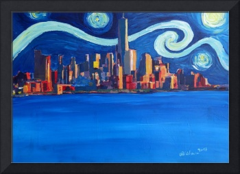 Starry Night in New York City - Freedom Tower Manh
