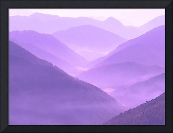 Misty Hilly Mountainous Violet Terraine On Another