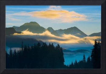 Valley fog in Turnagain Pass with Chugach Mountain