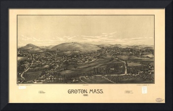 1886 Groton, MA Birds Eye View Panoramic Map