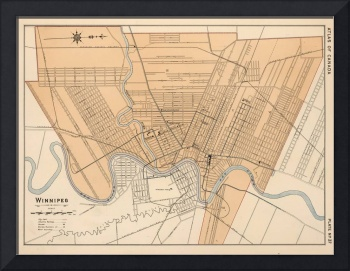 Vintage Map of Winnipeg Canada (1906)