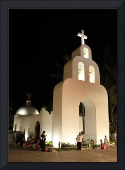 White Church at Night, Playa Del Carmen, Mexico