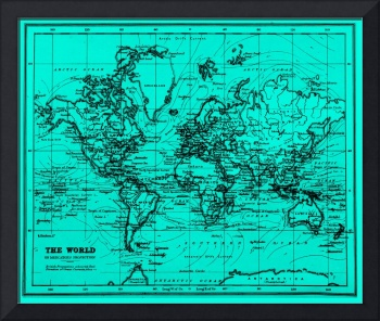 World Map (1899) Light Blue & Black