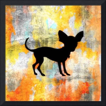 Chihuahua Silhouette on Citrus Colorwash