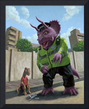 Dinosaur Community Policeman helping youngster