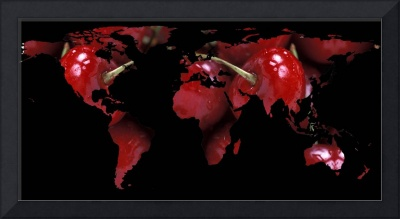 World Map Silhouette - Red Cherries