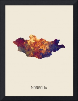 Mongolia Watercolor Map
