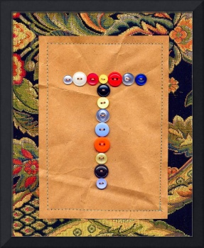 Letter T with Vintage Buttons and Brown Paper Bag