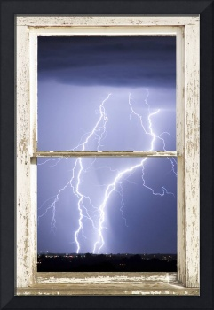 Nature Strikes White Barn Picture Window Frame Art