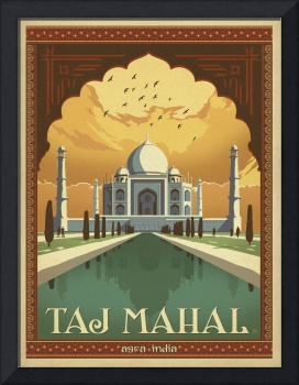 Taj Mahal, Agra, India - Retro Travel Poster