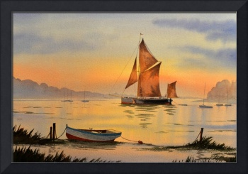 Thames Barge At Sunset