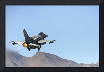 An F16E from the United Arab Emirates taking off a