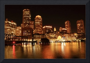 Boston Harbor Lights at Night