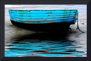 Blue Boat at Beadnell Beach