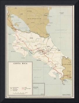 Vintage Map of Costa Rica (1961)