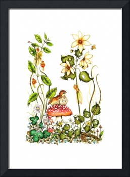 Watercolor Print - Fairy and Birds -