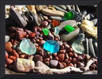 Coastal Beach Rock Garden art Prints Seaglass