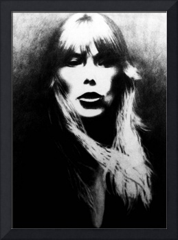 Joni Mitchell drawing from Norman Seeff photo