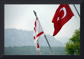 North cyprian and turkish flag flying side by side