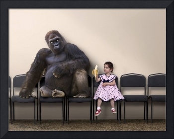 Girl Offers a Bite of her Bananna to a Gorilla