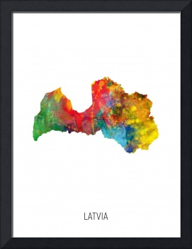 Latvia Watercolor Map