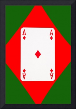 Playing Cards Ace of Diamonds on Green Background