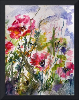 Pink Oriental Poppies Watercolor by Ginette