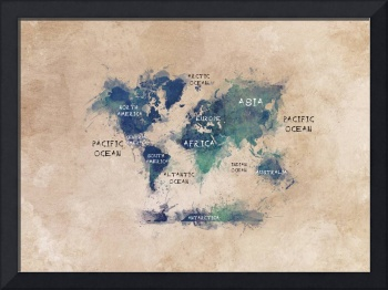 world map OCEANS and continents