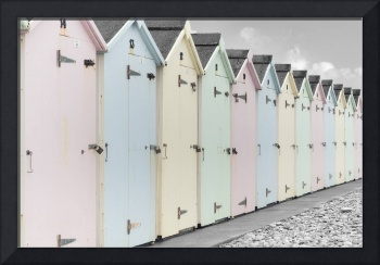 Beach Huts In Pastel Colors