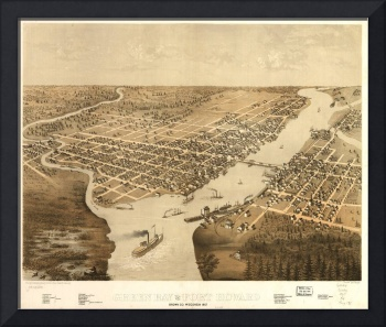 Vintage Pictorial Map of Green Bay WI (1867)