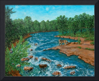 The Wolf by Wolf River Painting