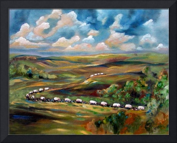 Wagon Train Oil Painting by GInette