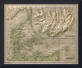 Vintage Iceland and Denmark Physical Map (1880)
