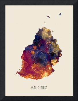 Mauritius Watercolor Map