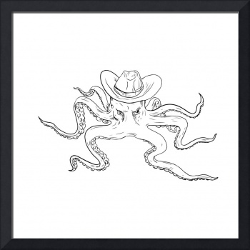 Octopus Wearing Cowboy Hat Drawing