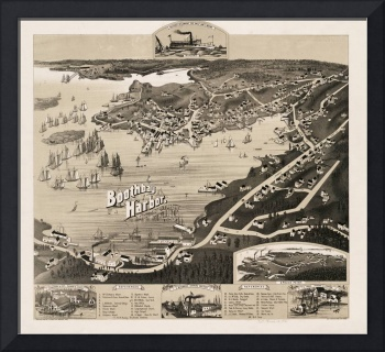Vintage Pictorial Map of Boothbay Harbor ME (1885)