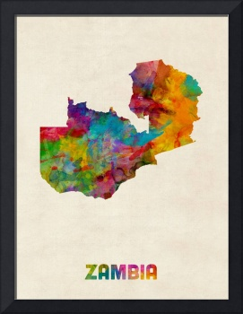 Zambia Watercolor Map