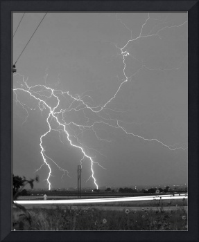 Highway 52 Lightning Strike BW Fine Art Photo