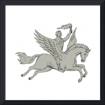 Bellerophon Riding Pegasus Holding Torch Drawing