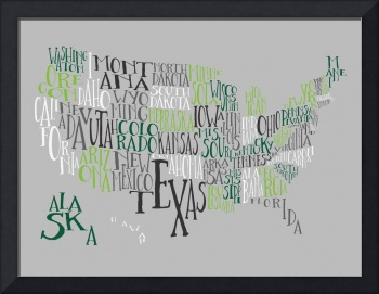 Green Grays US Typography Map