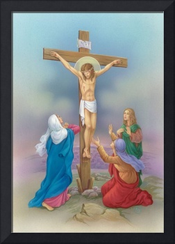 Jesus on the cross, three woman praying at his fee