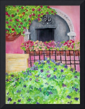 Bougainvilla and Geraniums